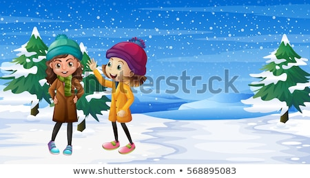 Scene with two girls in the snow field Stock photo © colematt