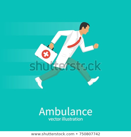 Emergency male doctor running to help with medicines. Hospital scene. Professional with stethoscope  Stock photo © Imaagio
