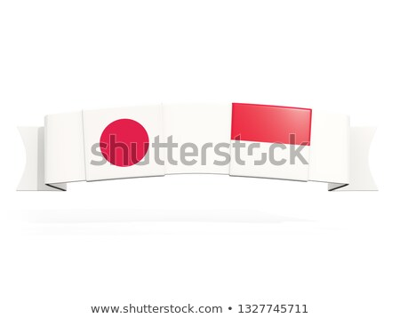 Banner with two square flags of Japan and indonesia Stock photo © MikhailMishchenko