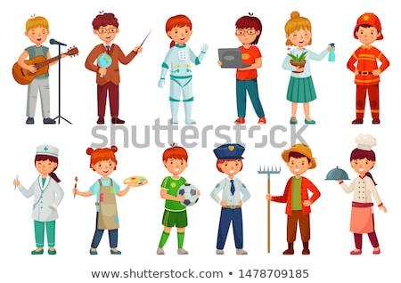 Dziecko chłopca strażak ilustracja kostium Zdjęcia stock © lenm