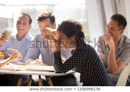 Mutlu arkadaşlar takım yeme ofis parti Stok fotoğraf © dolgachov