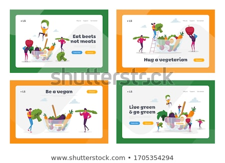 Vegetarianism landing page template. Stockfoto © RAStudio