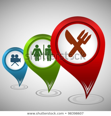 Map pointer with cinema icon. Vector illustration. Stock photo © kyryloff