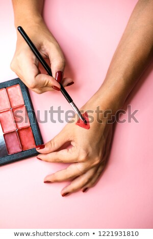 professional visagiste with red  lipstick. Stock photo © fanfo