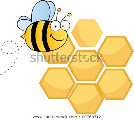 happy bumble bee cartoon character bee flying in front of a honeycombs with text stock photo © hittoon
