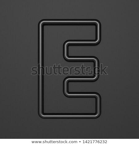 Stock photo: Black outline font Letter E 3D