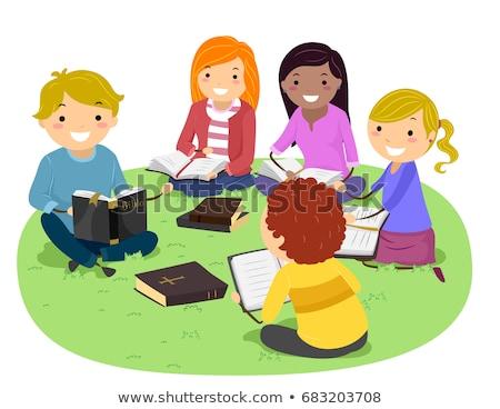 Biblia · estudio · ilustración · familia · estudiar · junto - foto stock © lenm