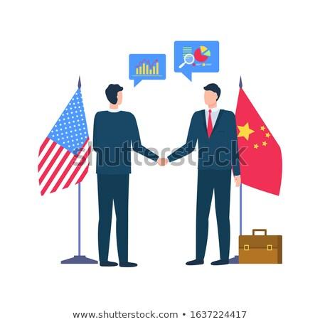 Partnerek Kína USA konferencia emberek vektor Stock fotó © robuart