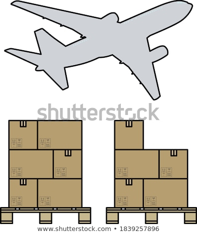 Boxes On Pallet Under Airplane Stock photo © angelp