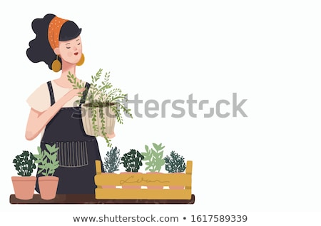 Gardening Hobby, Woman with Flower Pots Vector Stock photo © robuart