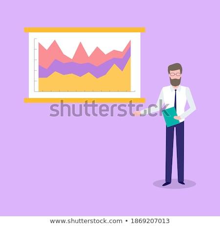 Statistics Male Analyzing Info on Paper Infocharts Stock photo © robuart