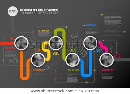 Modern infografika idővonal jelentés sablon sötét Stock fotó © orson