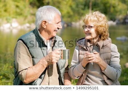 счастливым зрелый активный Туристов горячей чай Сток-фото © pressmaster