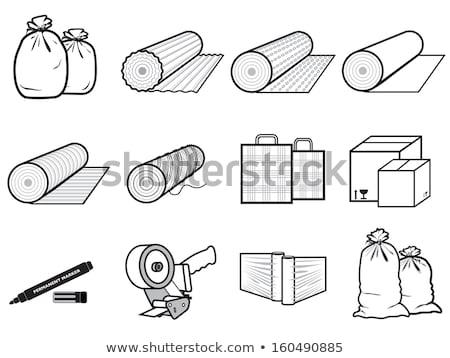 Karton csomag ragasztószalag ikon vektor doboz Stock fotó © robuart
