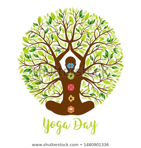 Yoga Day greeting card of woman lotus pose tree Stock photo © cienpies