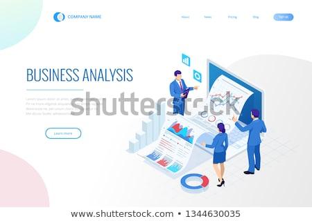 Budget planning isometrische 3D landing pagina Stockfoto © RAStudio