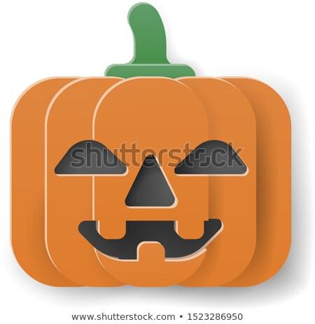 Halloween Cute Pumpkin Cartoon in Papercraft Style Stock photo © Krisdog
