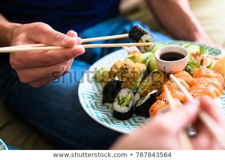 çift oturma birlikte ev yeme sushi Stok fotoğraf © Lopolo