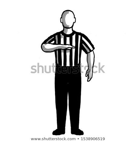 Basketbal arbiter stoppen signaal retro Stockfoto © patrimonio