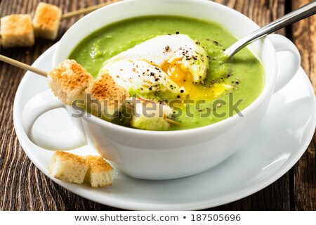 vert · pois · soupe · sombre · bois · faible - photo stock © tycoon