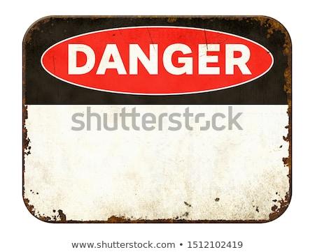 üres klasszikus konzervdoboz figyelmeztető jel fehér felirat Stock fotó © Zerbor
