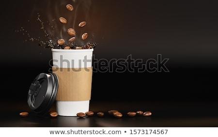 Sıcak espresso sabah kahve sıçrama kâğıt Stok fotoğraf © LoopAll