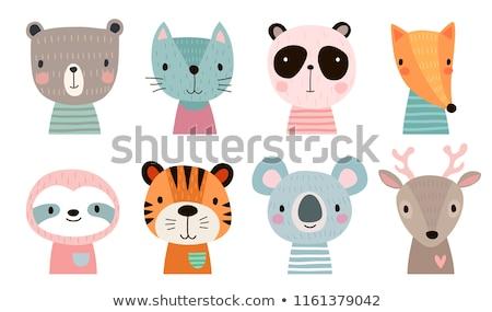 Kártya sablonok aranyos állatok illusztráció macska keret Stock fotó © bluering