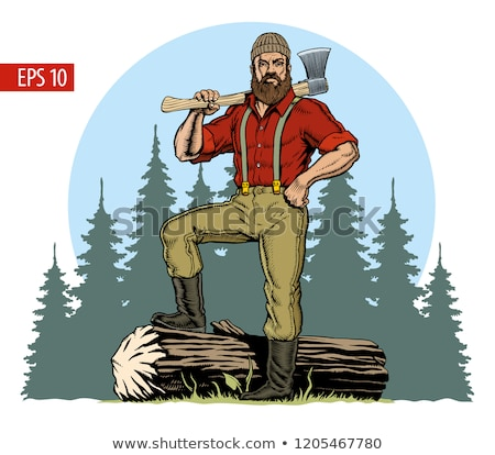 Leñador masculina hacha forestales fuerte trabajador Foto stock © jossdiim