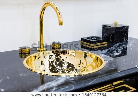 öreg sárgaréz mosdókagyló közelkép víz csepp Stock fotó © nomadsoul1