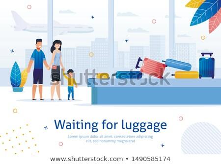 Famille tourisme bagages annoncer affiche vecteur Photo stock © pikepicture