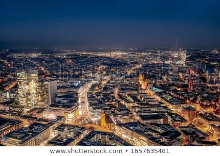 Luchtfoto over Frankfurt nacht hoofd- rivier Stockfoto © manfredxy
