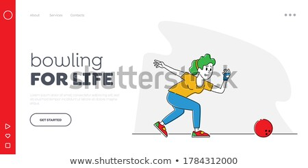 Playing bowling linear landing page vector template Stock photo © Decorwithme
