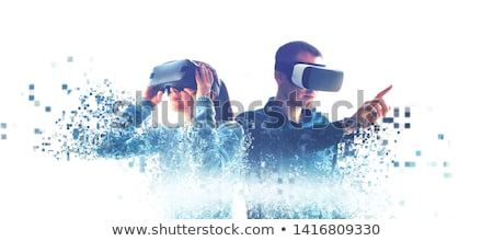 Interactive or Virtual Reality, Woman Playing Stock photo © robuart