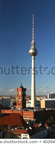башни Берлин небе здании часы радио Сток-фото © elxeneize