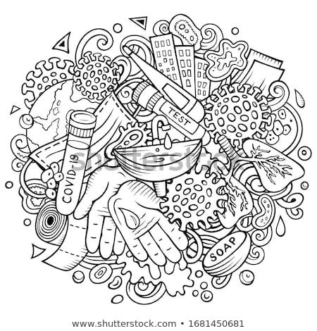 Coronavirus hand drawn cartoon doodles illustration. Colorful composition stock photo © balabolka