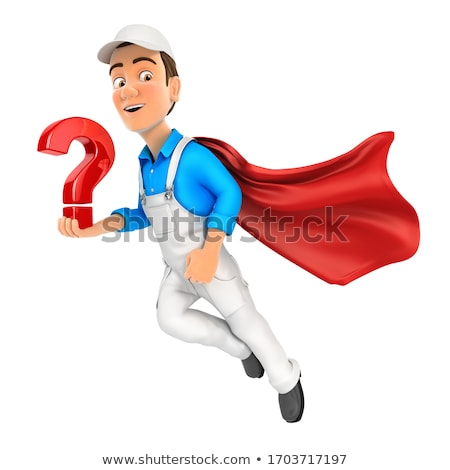 3d painter flying and holding question mark Stock photo © 3dmask