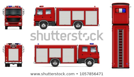 Red fire truck vector mockup Stock photo © YuriSchmidt