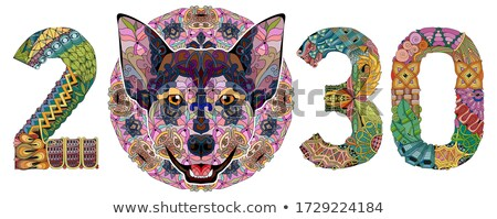 Zentangle stylized dog number 2030. Hand Drawn lace vector illustration Stock photo © Natalia_1947