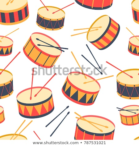 Drums with sticks flat vector seamless pattern Stock photo © barsrsind