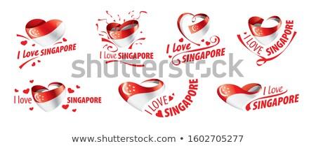 Zászló Szingapúr felirat szeretet felirat utazás Stock fotó © butenkow