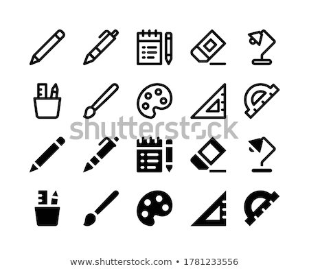 graphic design notepad and protractor measure tool Stock photo © yupiramos
