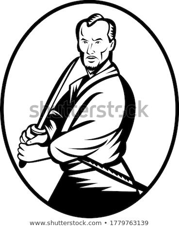 Szamuráj harcos kard harcol hozzáállás retro Stock fotó © patrimonio