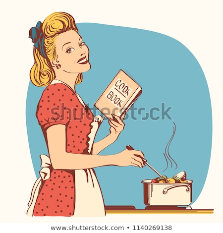 Young beautiful woman with speech bubble cooking in the kitchen
