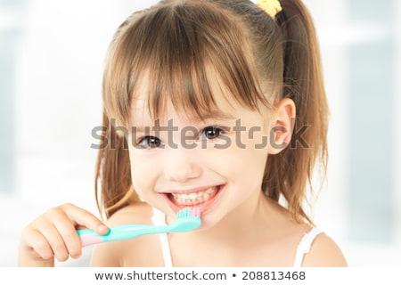 Stock foto: Mädchen · Zahnbürste · wenig · Kleinkind · Bademantel