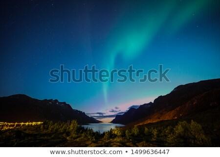 pôr · do · sol · mar · Noruega · ártico · costa · praia - foto stock © phbcz