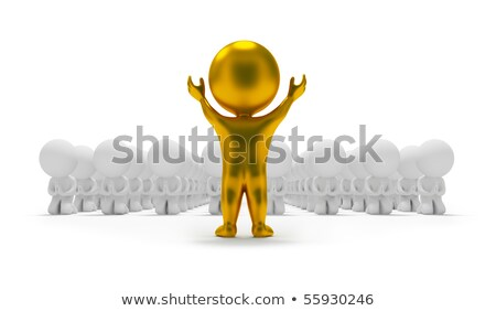 3d small people   worship an idol stock photo © anatolym