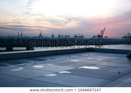 Hamburg harbor after sunset Stock photo © IngaNielsen