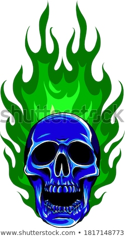 Skull Template with Flames Vector Image stock photo © chromaco