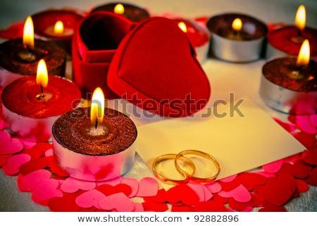 リング カード 結婚 提案 キャンドル 燃焼 ストックフォト © AndreyKr