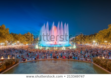mágikus · szökőkút · fény · előadás · Barcelona · citromsárga - stock fotó © vladacanon